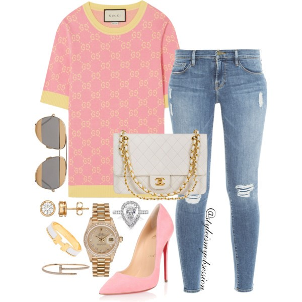 Style Inspiration Pink Lemonade Gucci Intarsia Sweater Christian Louboutin So Kate Pump Frame Denim Jeans.jpg