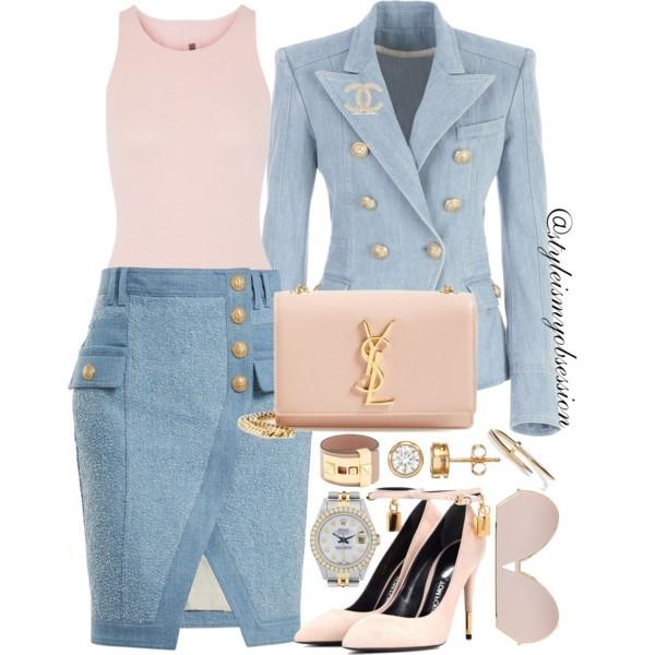 Style Inspiration Balmain Barbie Balmain Denim Blazer Balmain Textured Denim Mini Skirt Tom Ford Ankle Lock Pumps Saint Laurent Kate Shoulder Bag.jpg