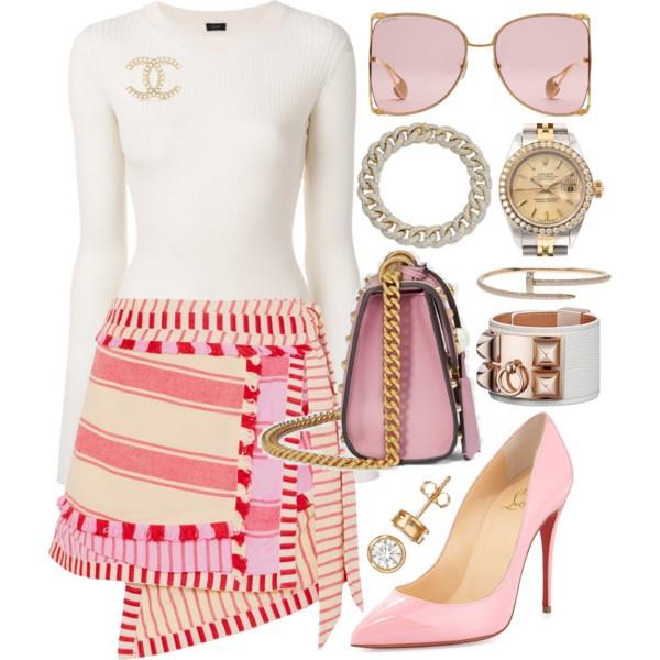 Style Inspiration Tasseled Mini Dodo Bar Or Tasseled Mini Skirt Christian Louboutin Pink Pigalle Pump Gucci Padlock Studded Shoulder Bag.jpg
