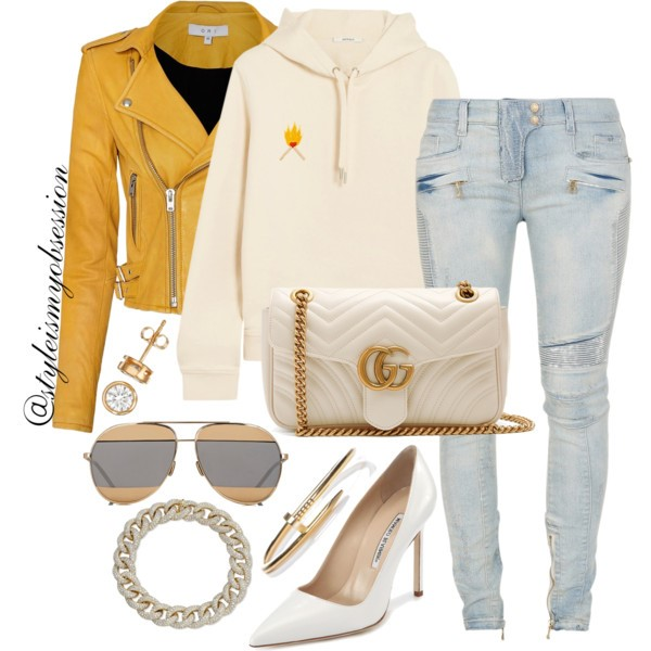 Style Inspiration Matchstick Ganni Sweatshirt Balmain Biker Jeans Manolo Blahnik BB Pump Gucci GG Marmont Bag.jpg