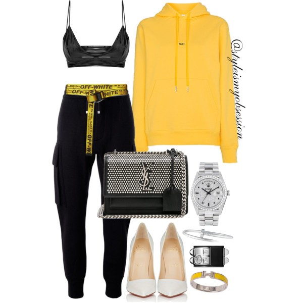 Style Inspiration Cab Confessions Helmut Lang Taxi Sweatshirt Helmut Lang Sweatpants Christian Louboutin Pumps Saint Laurent Studded Sunset Bag.jpg