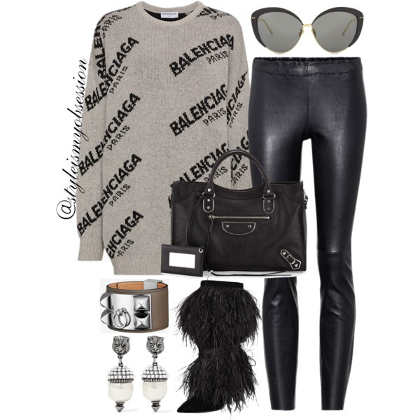 Style Inspiration Not Too Shabby Balenciaga Logo Print Sweater Balenciaga Metallic City Edge Bag Saint Laurent Feathered Boots.jpg