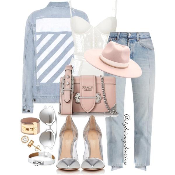 Style Inspiration Denim Doll Off-White Denim Jacket Vetements Denim Jeans Gianvito Rossi Plexi Pump Prada Spazzolato Cashier Crossbody Bag.jpg