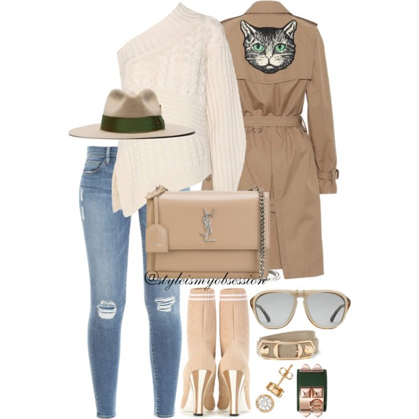 Style Inspiration The Cat's Meow Gucci Trench Coat Burberry Cable Knit Sweater Fendi Stretch-Knit Ankle Boots Saint Laurent Sunset Shoulder Bag.jpg