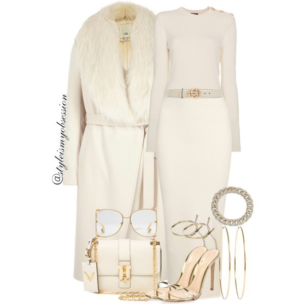 Style Inspiration Tall Glass of Milk Balmain Gold Button Sweater River Island Cream Robe Coat Yeezy Season 4 Pencil Skirt Gianvito Rossi Portofino Sandal.jpg