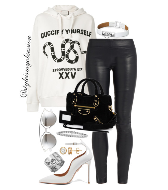 Style Inspiration In Black & White Gucci Guccify Yourself Sweatshirt Aquazzura Dolce Vita Pump Balenciaga Metallic Edge Nano City Mini Bag.PNG