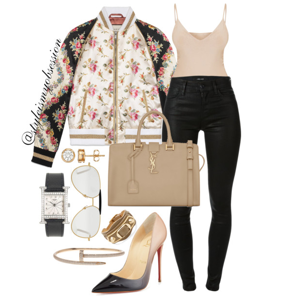 Style Inspiration Brunch Date Gucci Rose Print Bomber Jacket J Brand Maria Jeans Saint Laurent Cabas Bag Christian Louboutin So Kate Degrade Pump.PNG