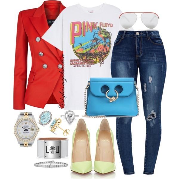 Style Inspiration Comic Con Balmain Blazer Junk Food Pink Floyd T-Shirt Christian Louboutin So Kate Pumps JW Anderson Pierce Mini Leather Bag.jpg