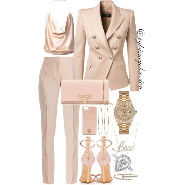 Style Inspiration Who's The Boss Nude Balmain Blazer Stella McCartney Anna Trousers Casadei Adele Sandal Prada Saffiano Shoulder Bag.jpg