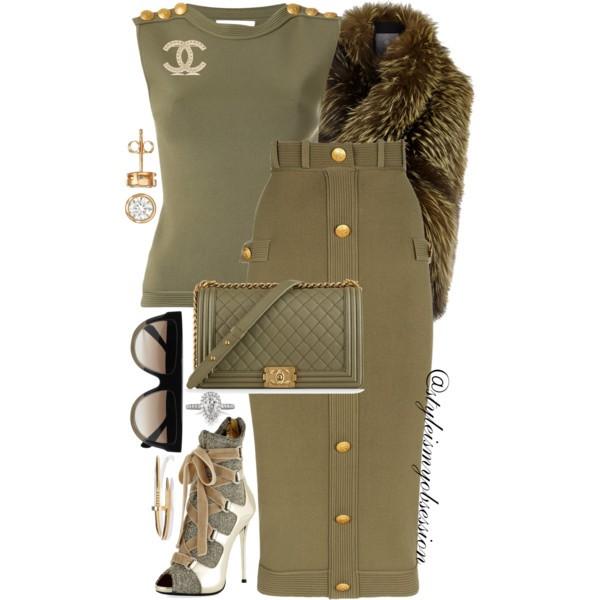 Style Inspiration Fashion Boot Camp Pierre Balmain Jersey Top Pierra Balmain Button Pencil Skirt Giuseppe Zanotti Metallic Bootie Chanel Boy Bag.jpg