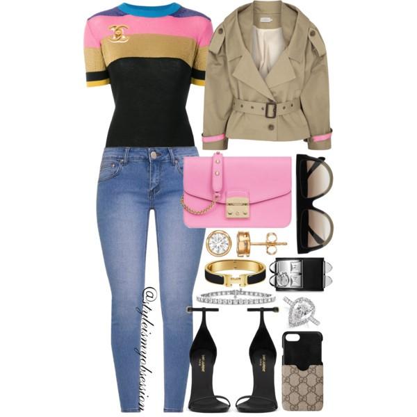 Style Inspiration Classic Trench With A Twist Preen by Thornton Bregazzi Trench Jacket Etro Knit Top Furla Metropolis Bag Saint Laurent Jane Sandal.jpg