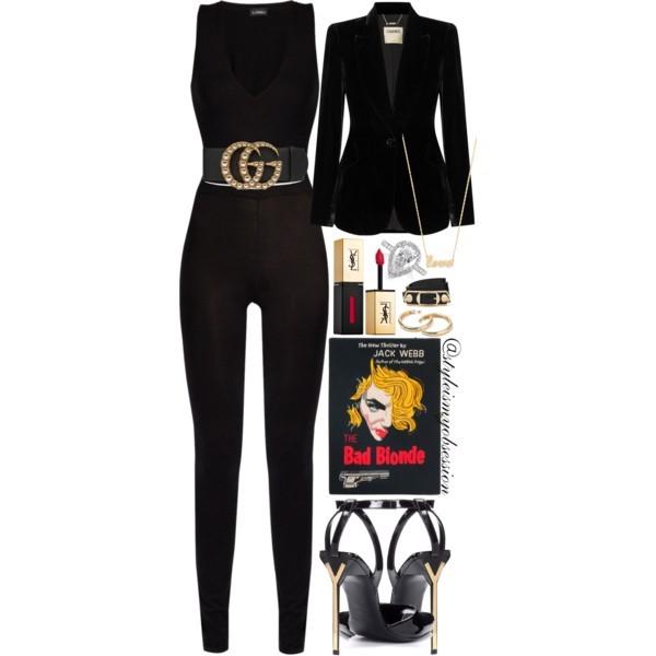 Style Inspiration Femme Fatale L'Agence Chamberlain Black Velvet Blazer La Perla Jumpsuit Saint Laurent Edie Patent Leather Sandal Olympia Le Tan The Bad Blonde Bag.jpg