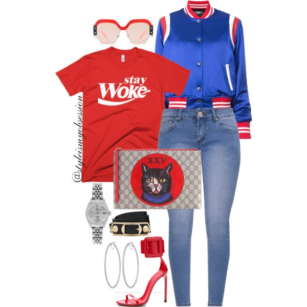 Style Inspiration Stay Woke Melanin Apparel Stay Woke Unisex T-Shirt Amiri Satin Bomber Gucci GG Supreme Canvas and Leather Clutch Gucci Spring 2013 Sandal.jpg