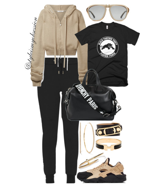 Style Inspiration Black Panther Part Adeam Cropped Hooded Top Melanin Apparel Black Panther Party T-Shirt Givenchy Nightingale Bag Nike Huarache Sneaker.PNG