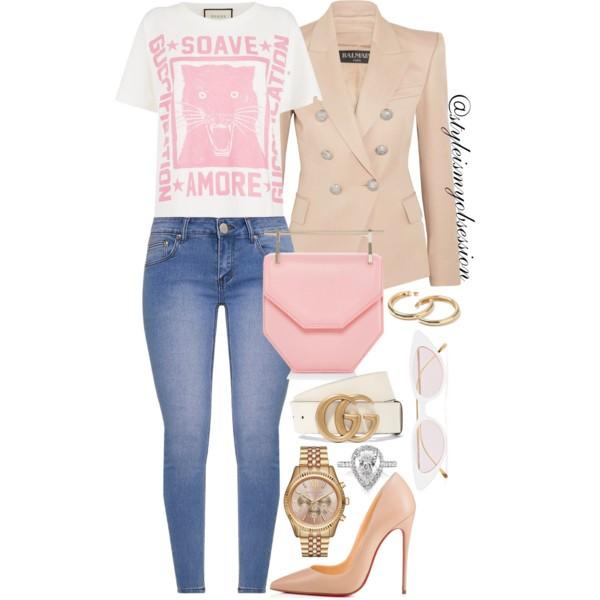 Style Inspiration Pink Panther Balmain Blazer Gucci Guccification T-Shirt M2Malletier Bag Chrisitan Louboutin So Kate Pump.jpg