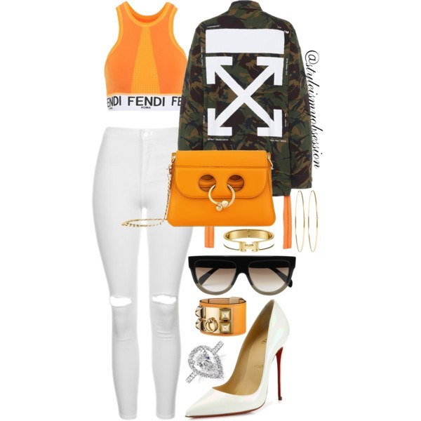 Style Inspiration Crossroads Off-White Camo Jacket Fendi Sports Bra Christian Louboutin Pumps J.W. Anderson Pierce Shoulder Bag.jpg