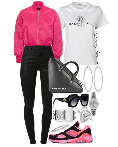 Style Inspiration Electric Pink Rag & Bone Bomber Jacket Balenciaga T-Shirt Commes des Garcon Homme Nike Sneaker Balenciaga Bag.PNG