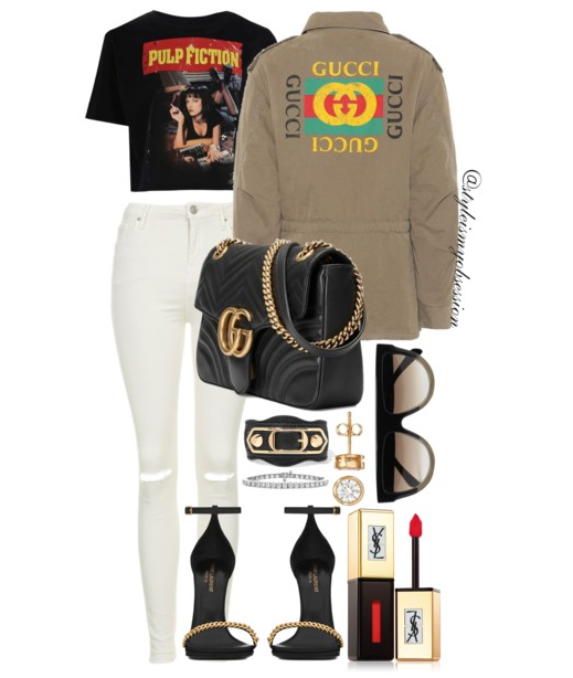 Style Inspiration Tarantino Gucci Cotton Print Jacket Boohoo Grace Pulp Fiction T-Shirt Saint Laurent Jane Sandal Gucci GG Marmont Bag.PNG