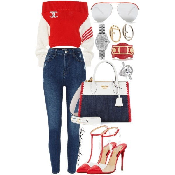 Style Inspiration Red, White, & Denim Monse Off-the-Shoulder Sweater Prada Leather & Denim Bag Christian Louobutin Nosy Pump.jpg