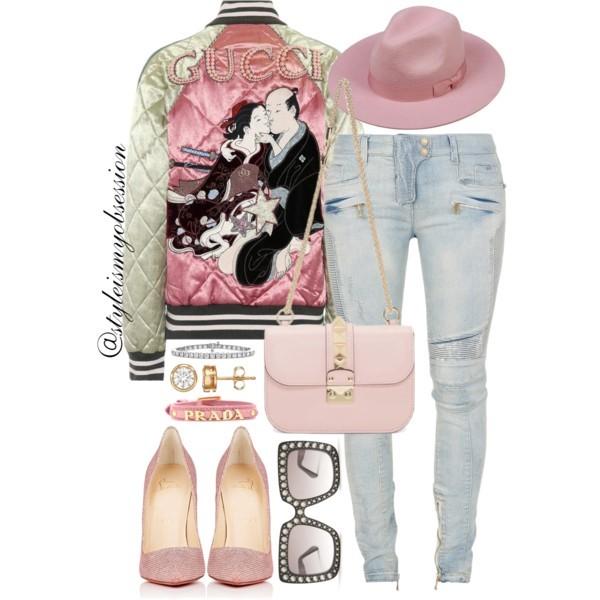Style Inspiration Gimme A Kiss Gucci Quilted Satin Bomber Jacket Balmain Biker Jeans Valentino Rockstud Lock Bag Christian Louboutin So Kate Glitter Mesh Pump.jpg