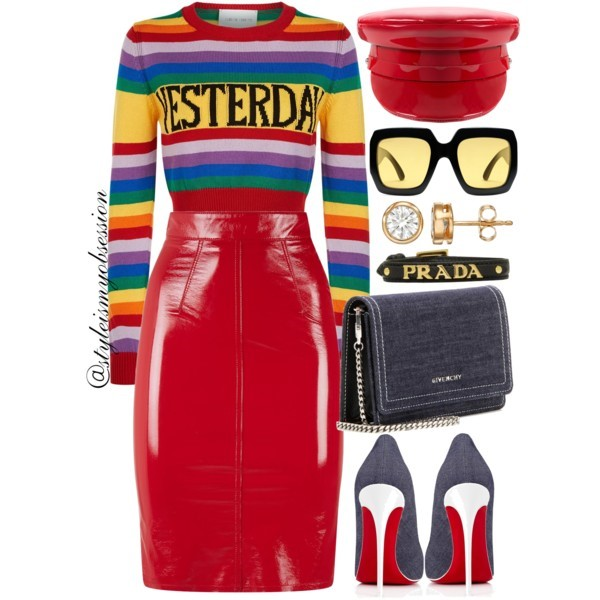 Style Inspiration Over The Rainbow Alberta Ferretti Yesterday Rainbow Sweater Christian Louboutin Denim So Kate Pump Givenchy Pandora Denim Shoulder Bag.jpg