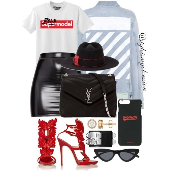 Style Inspiration Role Model Off-White Printed Denim Jacket June Ambrose Role Model Graphic Print T-Shirt Giuseppe Zanotti Cruel Summer Sandal Saint Lauren Lou Lou Bag.jpg
