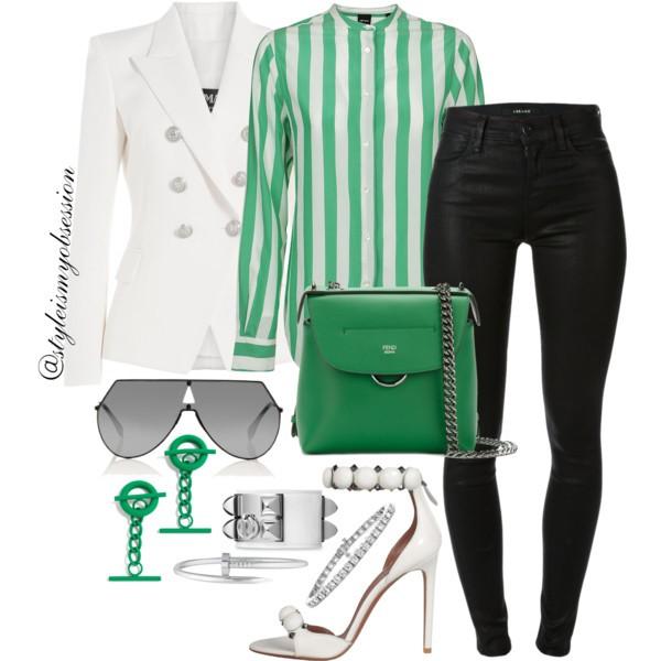 Style Inspiration Lucky Charm Balmain Blazer Fendi Mini Backpack Alaia Stud Sandal Fendi Shield Sunglasses J Brand Maria Jeans.jpg