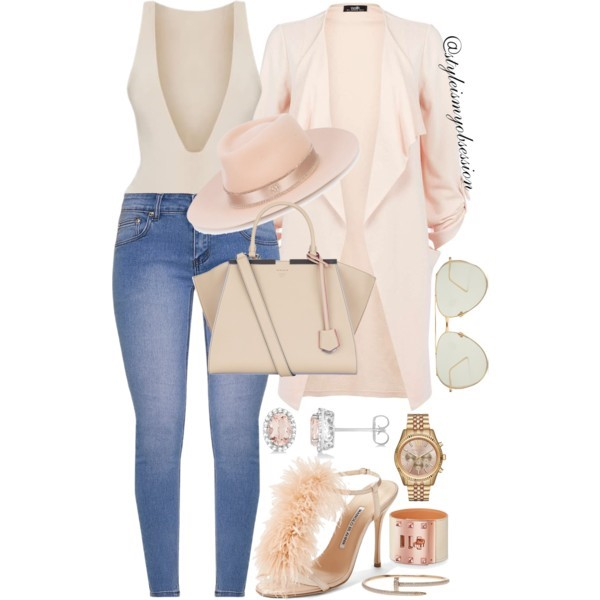 Style Inspiration Twinkle Toes Pretty Little Thing Bodysuit Pretty Little Thing Kim Skinny Jeans Manolo Blahnik Eila T-Strap Sandal Fendi Petite 2Jours Bag Maison Michel Charles Nude Fedora Hat.jpg