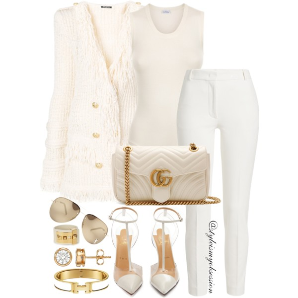 Style Inspiration Sunday Best Balmain Fringed Cardigan Gucci GG Marmont Shoulder Bag Christian Louboutin Nosy Pump.JPG