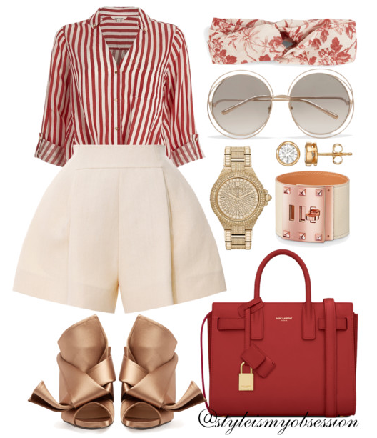 Style Inspiration River Island Red Striped Tie Front Shirt Delpozo Pleated Shorts No. 21 Satin Bow Mules Saint Laurent Nano Sac De Jour Bag Gucci Herbarium Print Linen Headband.PNG