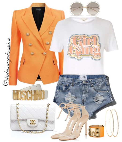 Style Inspiration Girl Gang Balmain Blazer River Island Girl Gang Print Tee One Teaspoon Denim Shorts Manolo Blanik Ankle Tie Sandals Chanel Quilted Shoulder Bag.PNG