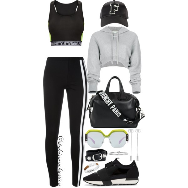 Style Inspiration Break A Sweat Off-White Cropped Hoodie PrettyLittleThing Sports Bra Balenciaga Race Runner Sneakers Givenchy Nightingale Bag.jpg