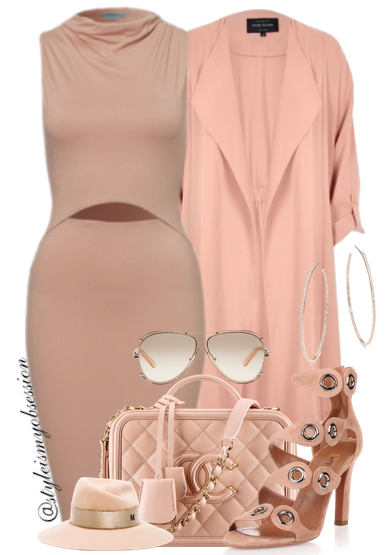 Style Inspiration Eat My Dust River Island Dusty Pink Duster Jacket Kookai Dress Aquazzura Sandal Chanel Bag Chloe Sunglasses Maison Michel Fedora Hat.png