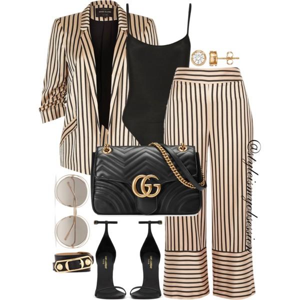 Style Inspiration River Island Striped Co-Ord Set Saint Laurent Classic Jane Sandal Gucci Bag Chloe Sunglasses Balenciaga Bracelet.jpg