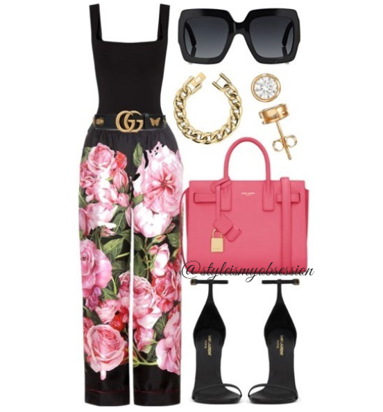 Style Inspiration What To Wear To Brunch Dolce & Gabbana Floral Print Pants Saint Laurent Sac De Jour Bag Saint Laurent Jane Sandal Gucci Sunglasses.PNG