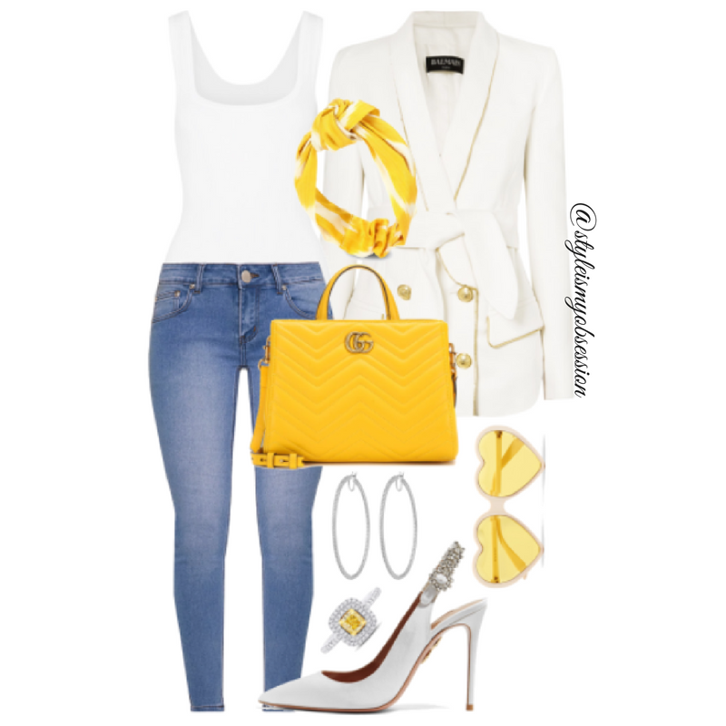 Style Inspiration Ray of Sunshine Balmain Blazer Alaia Bodysuit PrettyLittleThing Jeans Aquazzura Slingback Pumps Gucci Bag.png