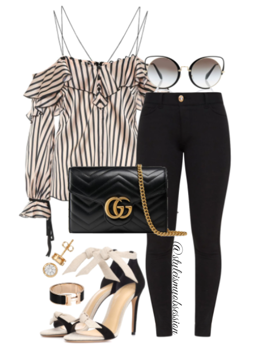 Style Inspiration No Strings Attached Self-Portrait Top Pretty Little Thing Jeans Alexandre Birman Clarita Sandal Gucci GG Marmont Bag.PNG