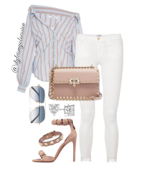 Style Inspiration Shoulder Lean Frame Denim Ciniched Poplin Long Sleeve Frame Le Skinny Jeans Alaia Sandal Valentino Rockstud Bag.PNG