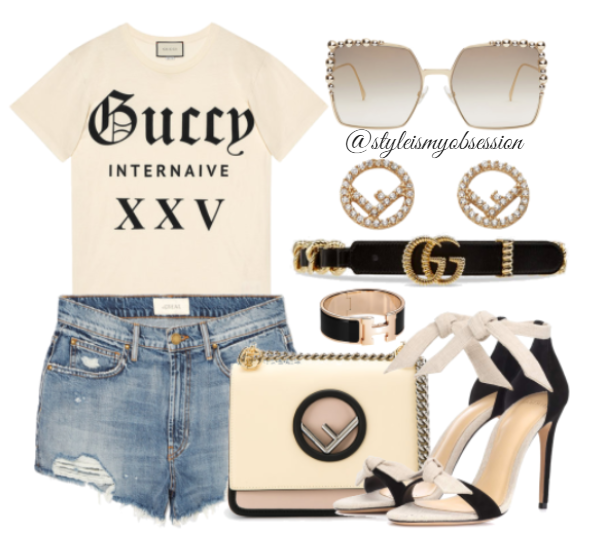 Style Inspiration Gucci x Fendi Gucci Print T-Shirt Fendi Kan I Bag Alexandre Birman Clarita Sandal Fendi Gold Can Eye Sunglasses.PNG