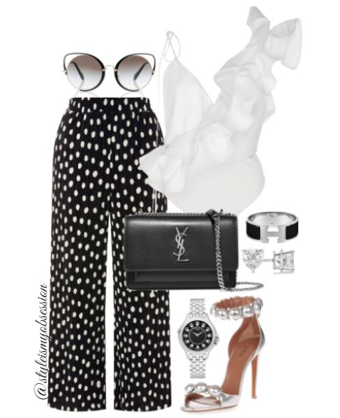 Style Inspiration Dottie Johanna Ortiz Ruffle One Shoulder Top Topshop Polka Dot Culottes Alaia Sandal Saint Laurent Sunset Bag.PNG