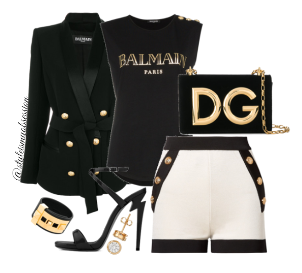 Style Inspiration Button Up Balmain Blazer Balmain  Logo Print T-Shirt Balmain Button Embellished Shorts Giuseppe Zanotti G-Heel Sandals Dolce & Gabbana DG Millennials shoulder bag.PNG