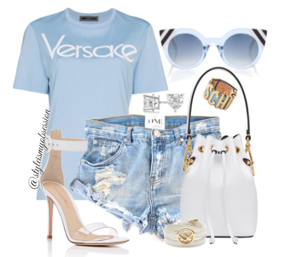 Style Inspiration Versace Versace Fendi Bucket Bag Versace Logo T-Shirt Giavnito Rossi Portofino Sandal Fendi Cateye Sunglasses.PNG