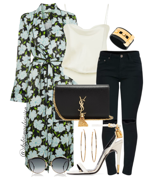 Style Inspiration Floral Arrangement Off-White Floral Robe Tom Ford Ankle Lock Sandal Saint Laurent Kate Leather Shoulder Bag Fendi Cateye Sunglasses.PNG
