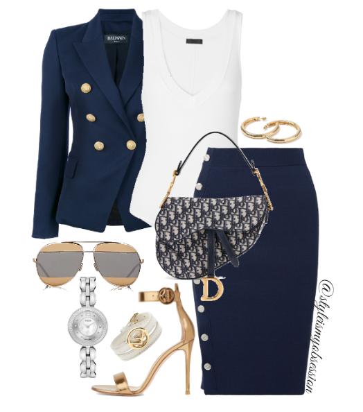 Style Inspiration Saddle Up Balmain Blazer Altuzarra Skirt Gianvito Rossi Portofino Sandal Dior Saddle Bag.PNG