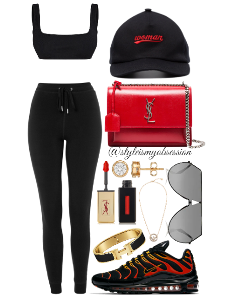 Style Inspiration Flaming Hot Pretty Little Thing Crop Top Topshop Side Stripe Joggers Saint Laurent Sunset Leather Bag Nike Air Max 97 Plus Fendi Shield Sunglasses.PNG
