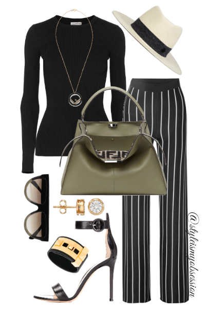 Style Inspiration Khaki Chic Balenciaga Ribbed Knit Sweater Balmain Striped Wide-Leg Pants Gianvito Rossi Portofino Sandal Fendi Peekaboo Bag.PNG