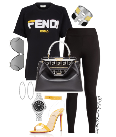 Style Inspiration Fendi Buzz Fendi T-Shirt Fendi Side Stripe Leggings Christian Louboutin Jonatina Sandal Fendi Peekaboo Bag.PNG