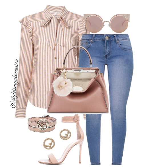 Style Inspiration Make Me Blush Veronica Beard Top Fendi Peekaboo Bag Gianvito Rossi Portofino Sandal Fendi Cateye Sunglasses.PNG