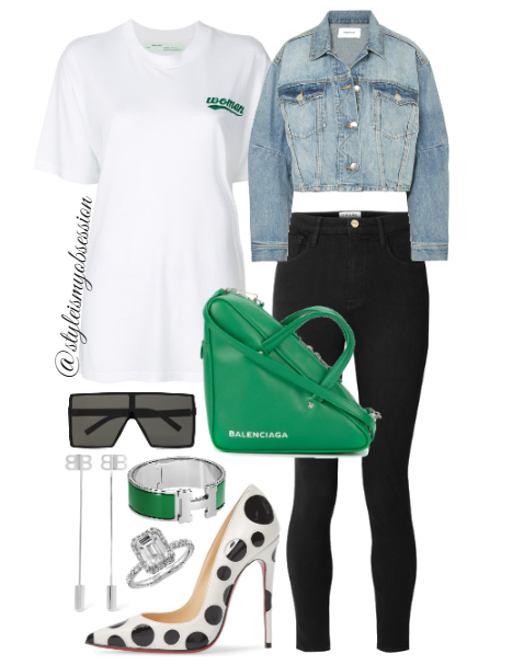 Style Inspiration On The Spot Current Elliott Denim Jacket Off-White T-Shirt Frame Ali Jeans Chrisitan Louboutin So Kate Pump Balenciaga Triangle Bag.PNG