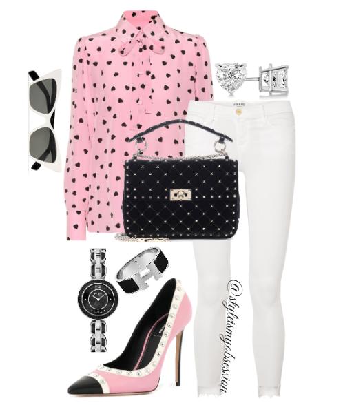 Style Inspiration I Heart U Valentino Pink Heart Print Blouse Frame Le Skinny de Jeanne Jeans Dsquared2 Studded Pump Valentino Rockstud Velvet Shoulder Bag.PNG